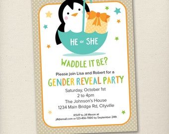 Penguin Gender Reveal Baby Shower - Aqua, Green, Orange and Yellow - Printable Digital Invitation - Personal Use Only