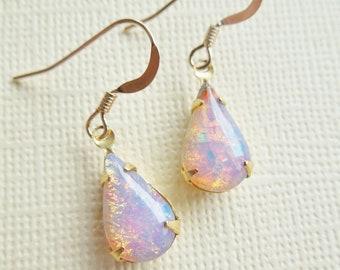 Vintage Fire Opal Earrings - Vintage Glass Harlequin Opal Earings, Teardrop. Gold Filled, Birthstone, Shabby Chic