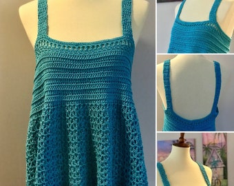 Summer Tank Top, Tunic Top, Swimsuit Coverup, Aqua Blue, Adult Size L
