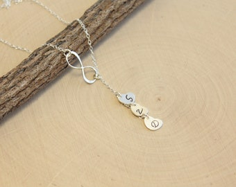 Sterling Silver Infinity Lariat Necklace with Three Initial Hearts... You Choose The Initials