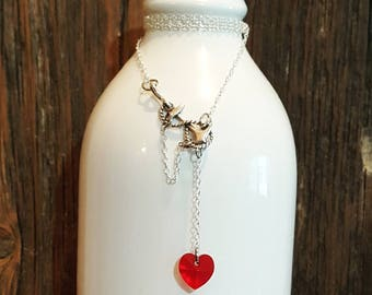 Anchor necklace, swarovski heart, sterling silver jewelry.