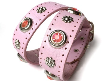 Pale Pink Leather Dog Collar with Giant Crystals & Flowers, Size L, to fit a 18-21in Neck, Large Dog, Eco Friendly, Girl, Feminine, OOAK