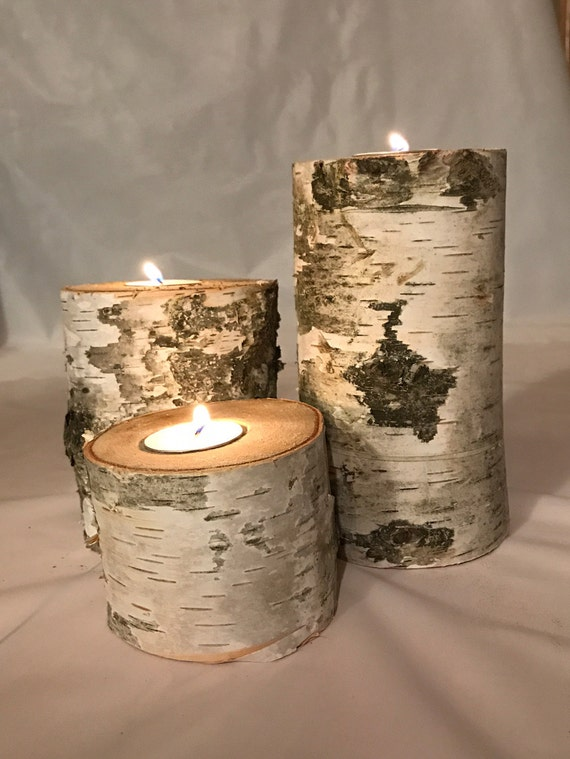 Wood Candle Holder, White Birch Candles, Wedding Centerpiece, Birch Candle, White  Birch Candles, Birch Candles, Birch Tree
