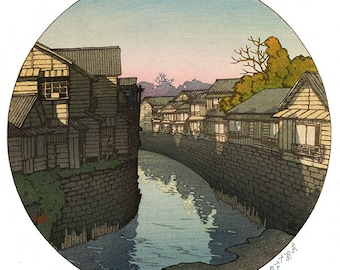 Japanese Fine Art Reproduction, Home Decor, Wall Art Print, Woodblock Landscape Vintage Illustration Art Print, The Peaceful Canal
