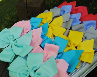 Kindergarten Bows - 5 Inch Hair Bow Set - Large Bow Set - Back to School - Pigtail Hairbow - Kindergarten Graduation Gift - BTS M2M Camp MJC