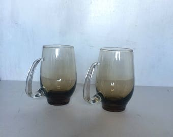 Vintage Smokey Gray Glass Mugs Brown Glass Mugs with Handles Mid Century Barware