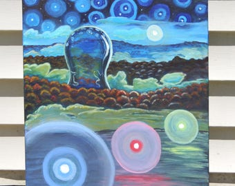 """Primary Orbs, Original Acrylic Painting 16""""X20"""" by Bad Apple Artist"""