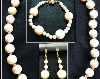 Wood necklace, bracelet and earrings Nefertiti-Set woman