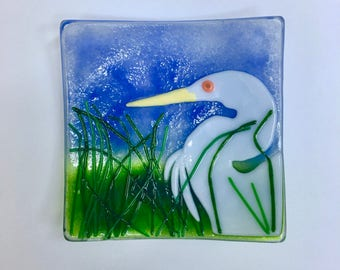 White Egret Dish, Fused Glass Handmade, In Marsh of Tall Grass, 3 Layers of Glass, Lampwork, Coastal Water Bird