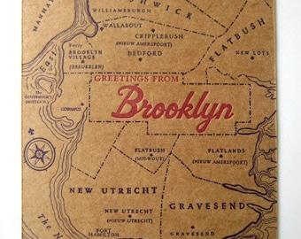 Greetings from Brooklyn - Letterpress Postcard