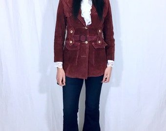 Vintage 60s 70s Kirk's Suede-Life by Opera Burgundy Brown Suede Belted Buckle Bohemian Mod Leather Jacket S