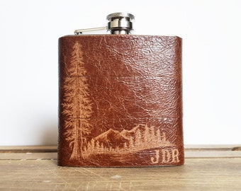 Mountain Man Leather Flask, Personalized initials, Red Wood Tree, brown leather, wedding hip flasks, outdoors gift