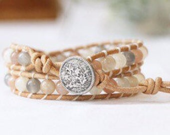 Healing Stone Wrap Bracelet - Multi-Coloured Moonstone