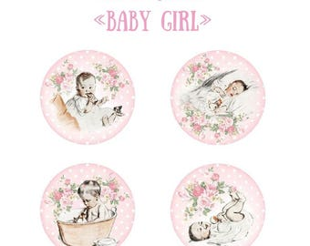 4 Flair buttons baby girl 25 mm