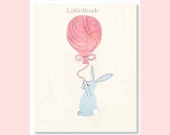 Bunny Nursery Prints, Baby Girl Nursery,  NURSERY ART, Pastel Nursery Decor, Bunny Print, Pink Nursery Art, Rabbit Print, Balloon