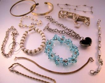 Vintage Bracelet Lot of 12 Pieces All Types Lot of Bracelets Costume Jewelry Jewellery