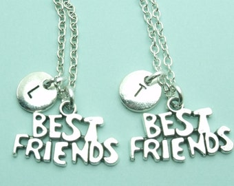Best Friends Set of Two (2) charm necklace, best friend jewellery, best friend gift, BFF personalised initial necklace, letter, gift