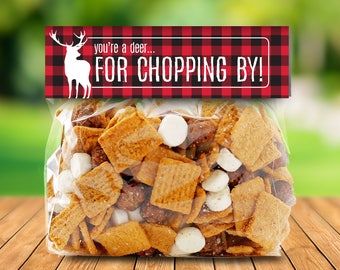 "Lumberjack Party Favor Bag Topper - S'more Treat Favor Topper, 6.5"" Baggie Topper, S'more 