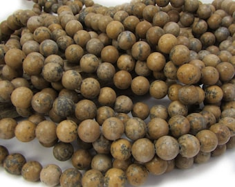 Grain Stone Beads, Natural 8mm Round, 16 inch Strand, 8mm Brown Beads, Beading Supplies, Item 721pm