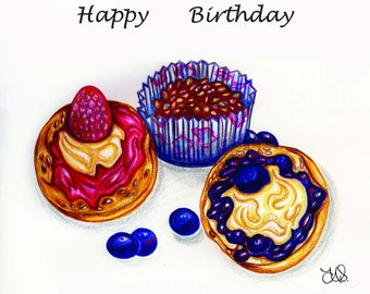 Cupcake Birthday Cards- Pack of 4