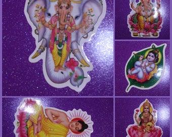 Hindu Buddha Ganesh Krishna Aum Lakshmi Om Double Sided Stickers