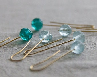 sea berry (aquamarine and turquoise), nature charity earrings in vintage czech glass and brass