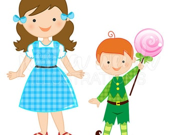 Just Dorothy and the Munchkins Cute Digital Clipart, Wizard of Oz Clip art, Wizard of Oz Graphics, Wizard of Oz Illustration, #1590