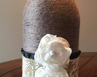 Yarn wrapped wedding decor, vase, home decor, flower vase, bridal shower decor
