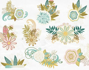 Wispy Floral Clip Art, Foliage & Flower Clusters, Flower ClipArt, Digital Download, Card Making Design Resource, Feminine Vintage