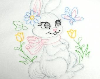 baby girl blanket, fleece baby, girl crib blanket, bunny rabbit, baby gift, baby shower gift, fleece blanket, 30 x 30 in, infant blanket