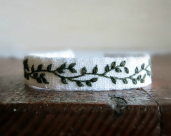 Botanical Cuff Bracelet, Embroidered Cuff Bracelet, Handmade Jewelry, Gift Under 40, Gift For Her, Botanical Jewelry, Green White Cuff