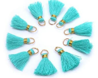 Cotton Tassels - 10 pieces - 20mm - Aqua and Gold - Jewelry Making - Craft Supplies