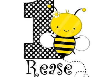 Bumble Bee Birthday Number Digital Download .jpeg file for iron-ons, heat transfer, Scrapbooking, Cards, Tags, DIY, YOU PRINT