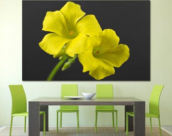 Large yellow orchid wall art flower print set of 3 or 5 panels, yellow orchid flower photography botanical art canvas home decoration poster