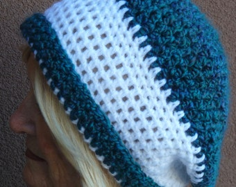 Bold blue and white slouchy hat that's unique, women's winter crochet hat with style, both cute and quality handcrafted, versatile style