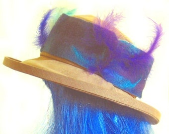 Headband Indigo Purple Needle Felted Feathered Hatband