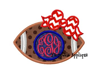 Digital Machine Embroidery Design -  Girly Football with Bow and Monogram Applique