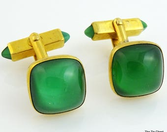 Vintage 1940s Cufflinks Green Glass Cab Swank Gold Tone Angled