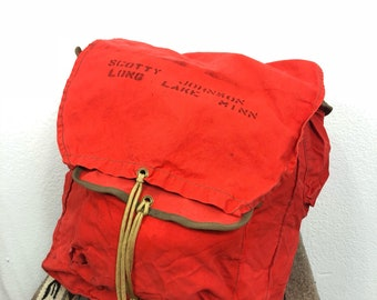 70's vintage cotton canvas mountaineergng backpack day pack stencil