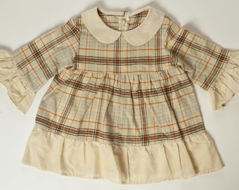 2T-3T Plaid Flannel Ruffle Tunic Top