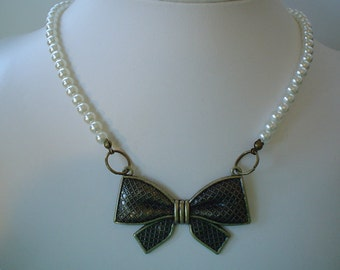 SALE  Ready TO SHIP Antique Bronze Plated Bow Necklace with Light Ivory Pearls
