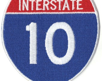 Interstate 10 Sign Logo Embroidered Iron on Applique Patch
