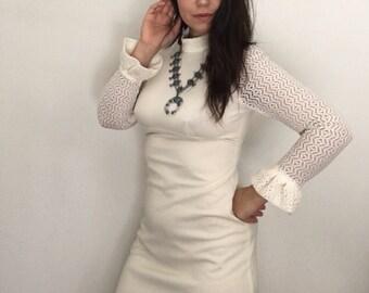 1970s Boho Ivory Wedding Dress