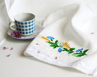 Natural Linen Tea Towel, Embroidered Hand Towel, Linen towel, Kitchen towel, Cottage decor, Linen hand towel White, Towel, Eco-friendly Gift