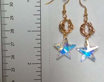 Swarovski crystal starfish  - earrings