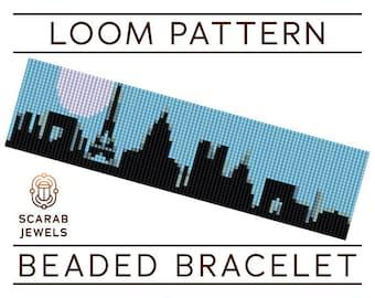 Paris Skyline Pattern | Loom Beading Bracelet | Cuff Bead Pattern | Miyuki Delica | PDF Instant Download