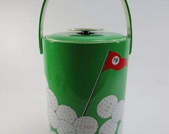 retro 19th hole golf ice bucket wine bottle