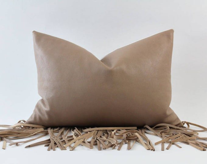 """pink nude leather fringe throw pillow - 14"""" x 20"""""""