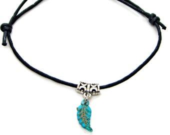 Bracelet Anklet Adjustable Acrylic Leaf Charm Pewter Friendship String Hippie Nature