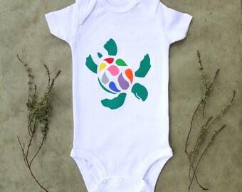 Turtle Baby One-Piece Bodysuit / Sea Turtle Baby Bodysuit / Gender Neutral Baby Outfit / Turtle Baby Clothes / Rainbow Animal One-Piece